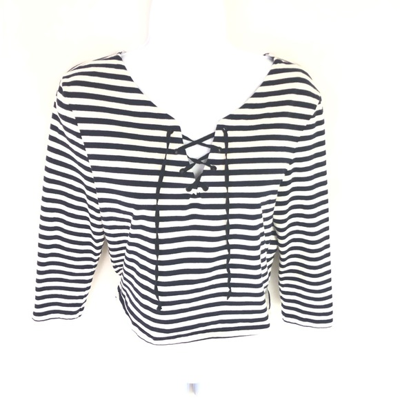 Topshop Tops - Topshop Stripe Tie Laced Neck 3/4 Sleeve Crop Top